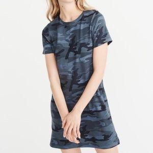ABERCROMBIE & FITCH Blue Camo Tee T-Shirt Dress